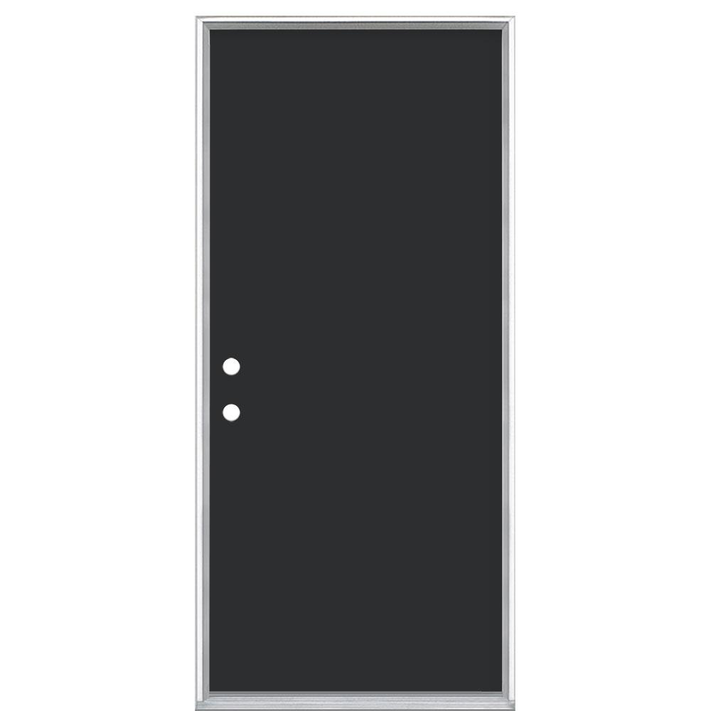 Masonite 36 in. x 80 in. Flush Right-Hand Inswing Jet Black Painted Steel Prehung Front Exterior Door No Brickmold
