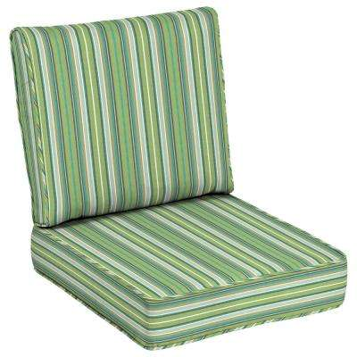 Acrylic Striped Green Outdoor Chair Cushions Outdoor