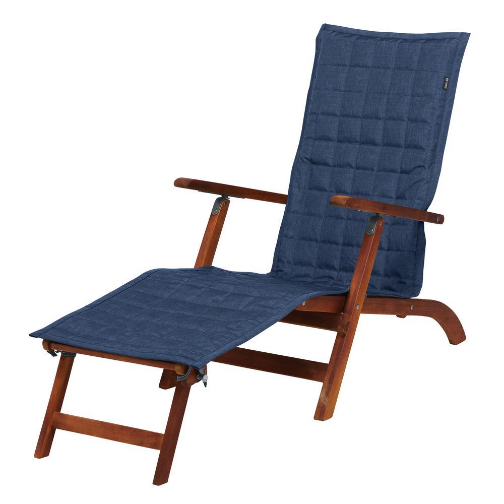 Montlake FadeSafe 69 in. L x 19 in. W Heather Indigo Patio Steamer Chaise Slipcover