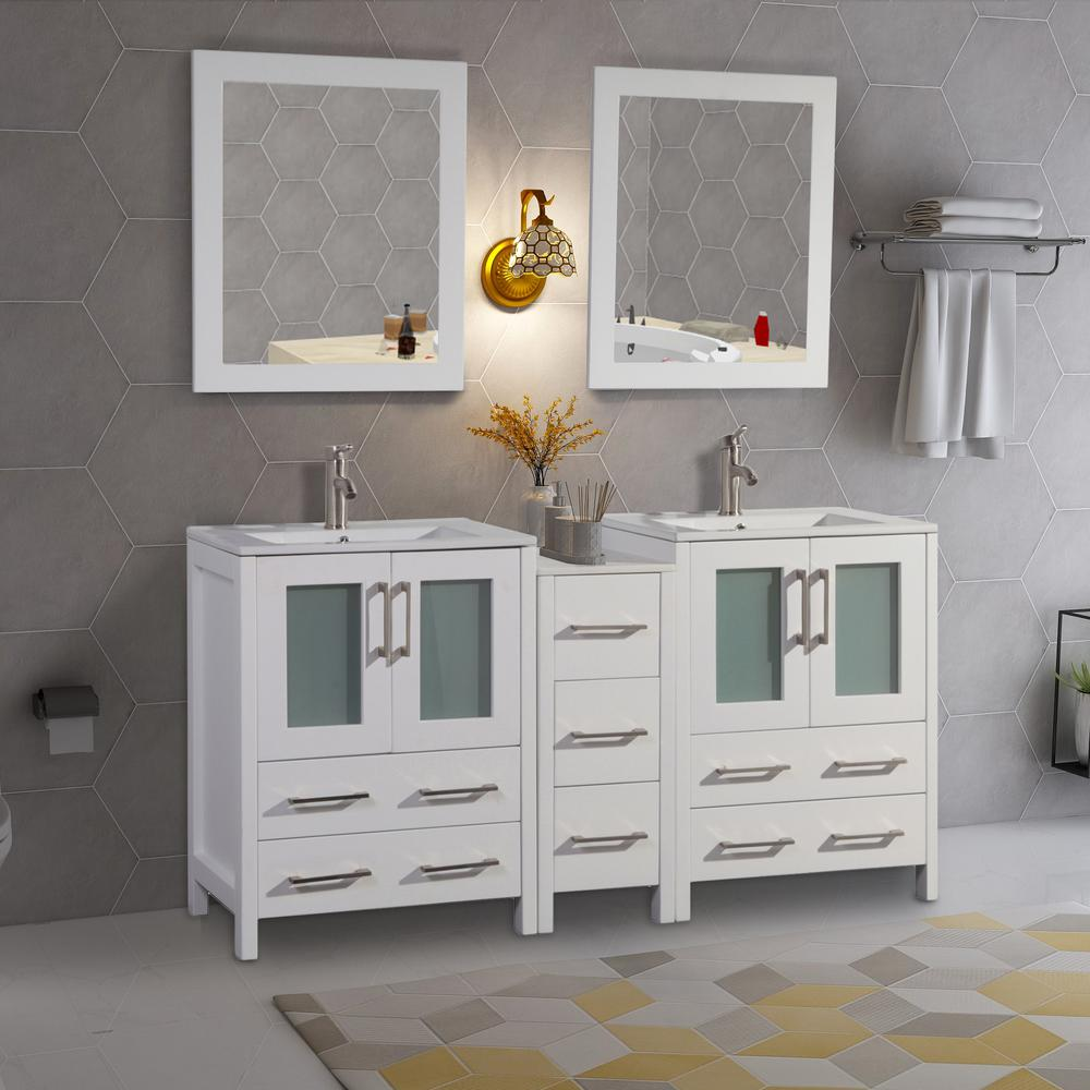 Vanity Art Brescia 60 in. W x 18 in. D x 36 in. H Bath Vanity in White with Vanity Top in White with White Basin and Mirror