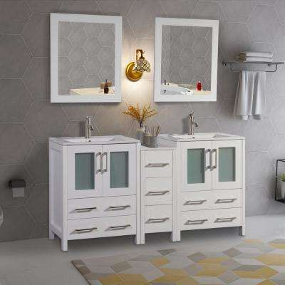 Brescia 60 in. W x 18 in. D x 36 in. H Bath Vanity in White with Vanity Top in White with White Basin and Mirror
