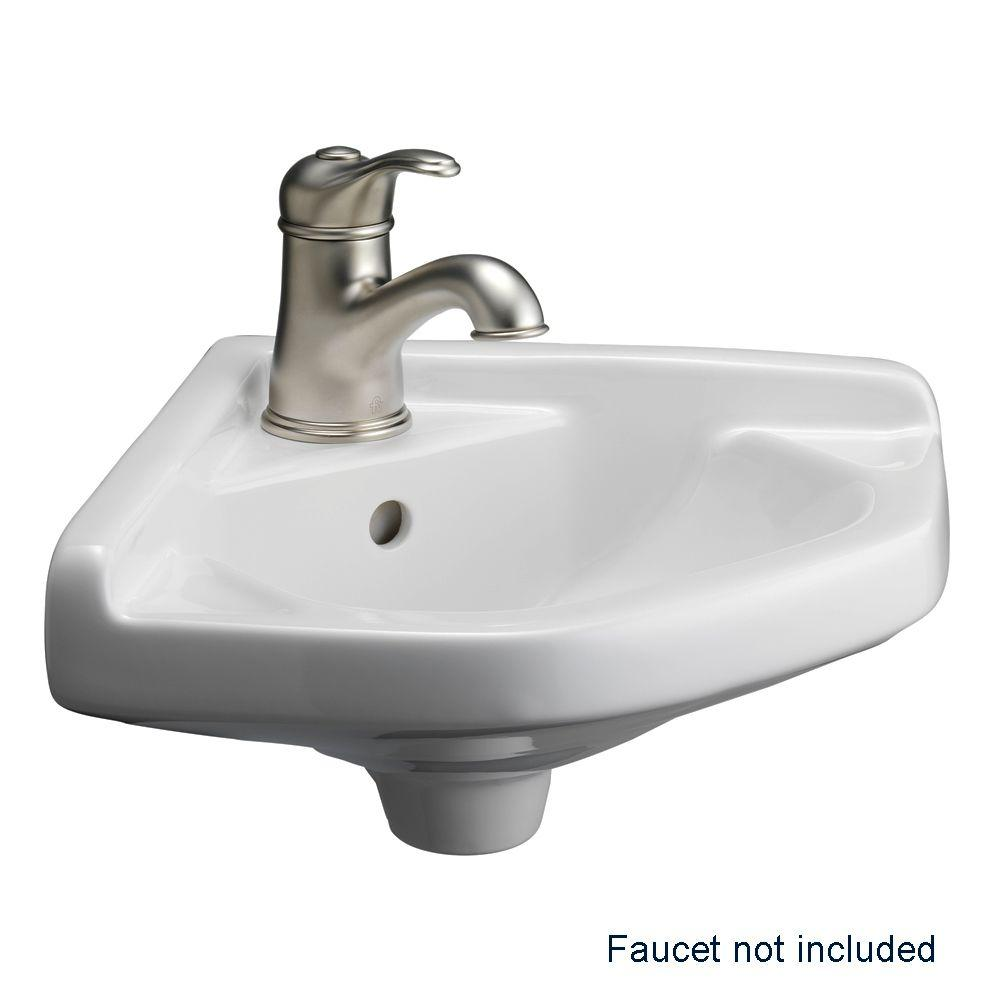 Barclay Products Corner Wall Mounted Bathroom Sink In White