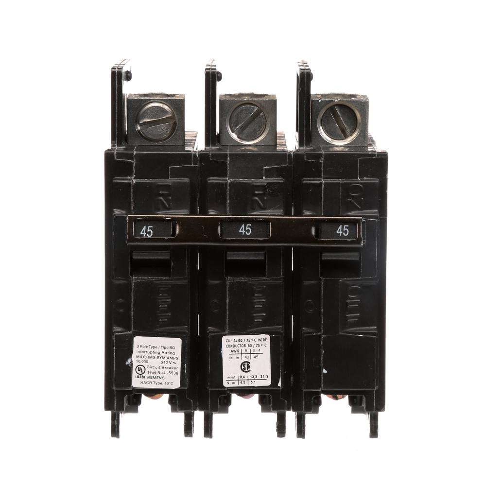 Siemens 45 Amp Three Pole Type Qp Circuit Breaker Q345 The Home Depot Family Op Series Amplifier General Purpose Number Of Circuits 3 Bq 10 Ka Lug In Out