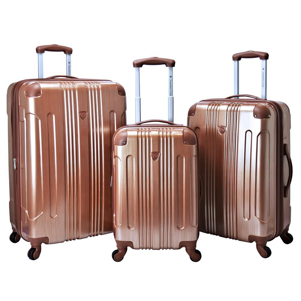 3-Piece Copper Expandable Hardside Metallic Vertical Luggage Set