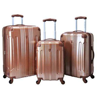 3-Piece Copper Expandable Hardside Metallic Vertical Luggage Set