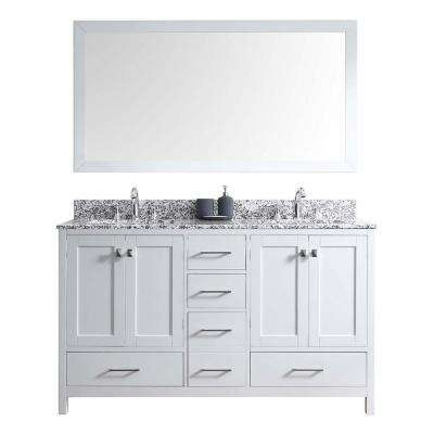 Caroline Madison 60 in. W Bath Vanity in White with Granite Vanity Top in Arctic White with Square Basin and Mirror