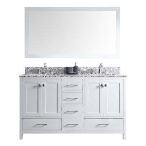 Virtu USA Caroline Madison 60 inch Vanity in White with Granite Vanity Top in Arctic White with White Square Basin and... by Virtu USA