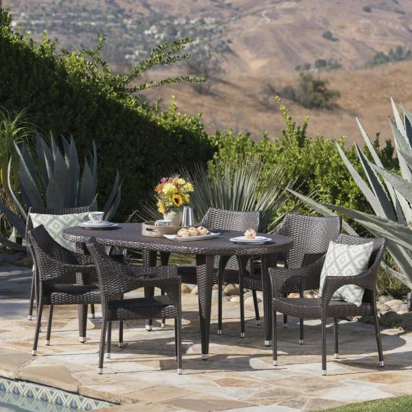 Troy Multi-Brown 7-Piece Wicker Outdoor Dining Set with Stacking Chairs