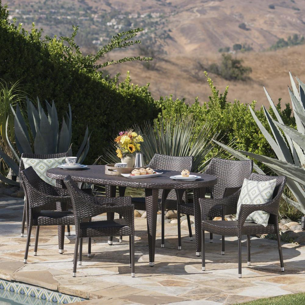 Outdoor Patio Furniture 7pc Multibrown All Weather Wicker: Noble House Troy Multi-Brown 7-Piece Wicker Outdoor Dining