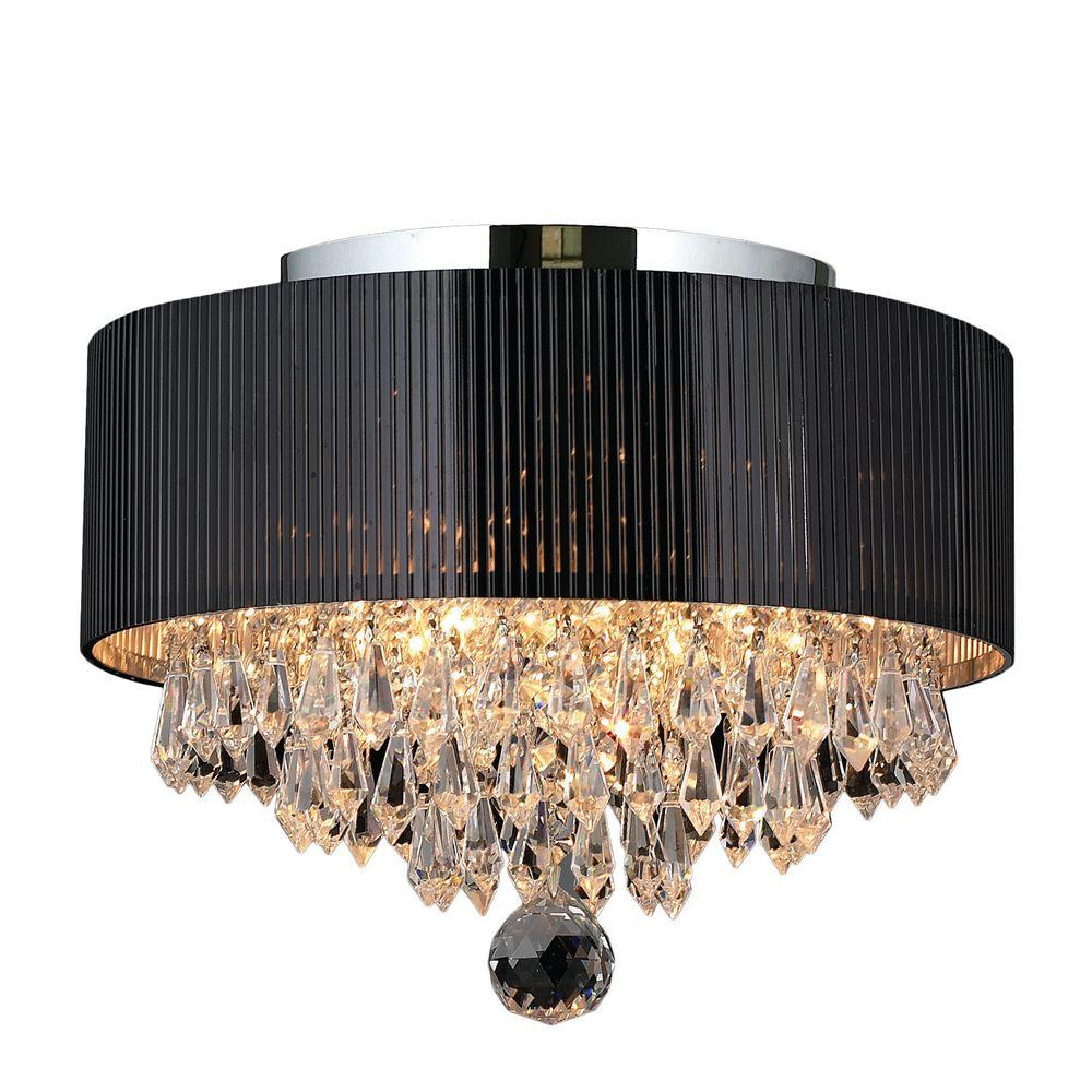 Worldwide Lighting Gatsby Collection 3 Light Crystal and Chrome Ceiling Light with Black Shade