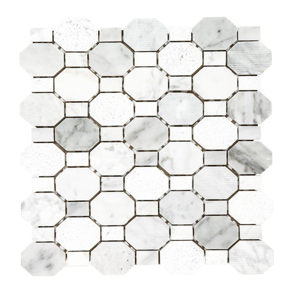 Jeffrey Court Crisp Illusion White 12 in. x 12 in. x 8 mm Limestone Mosaic Floor and Wall Tile