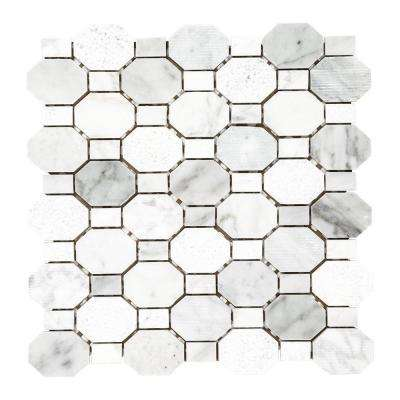 Crisp Illusion White 12 in. x 12 in. x 8 mm Limestone Mosaic Floor and Wall Tile