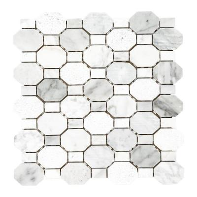 Crisp Illusion White 10.375 in. x 11.125 in. Hexagon Marble Wall and Floor Mosaic Tile (0.801 sq. ft./Each)