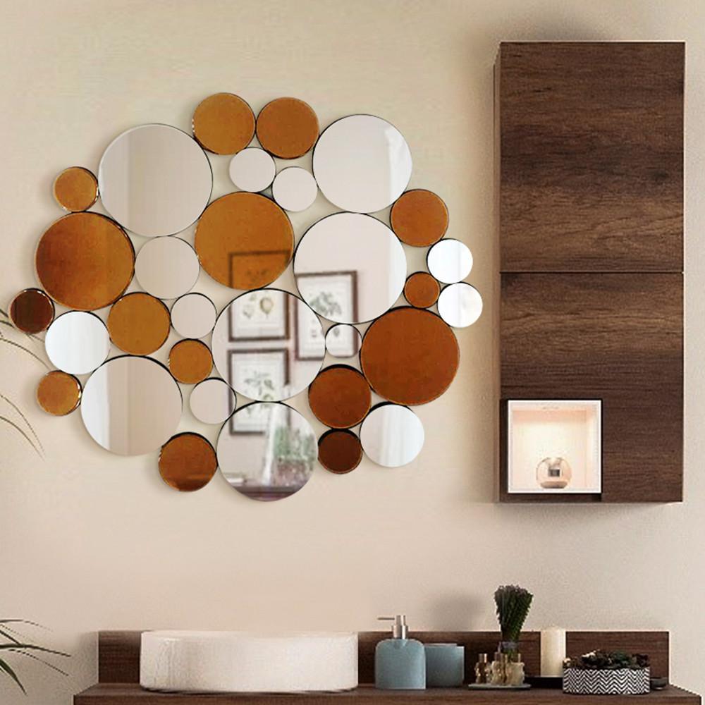 Medium Round Hooks Mirror (35.50 in. H x 40.50 in. W)