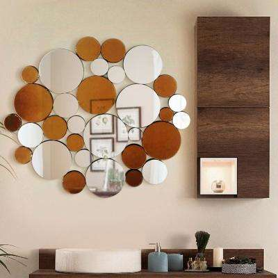 35.5 in. L x 40.5 in. W Coins in the Fountain Round Decorative Wall Mirror