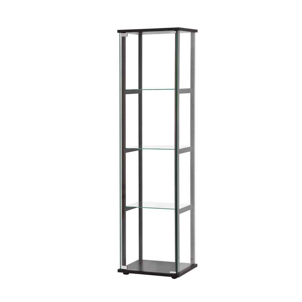4 Shelf Gl Curio Cabinet Black