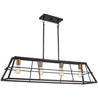 Keeley Calle 4 Light Painted Bronze With Natural Brushed Brass Billiard  Light