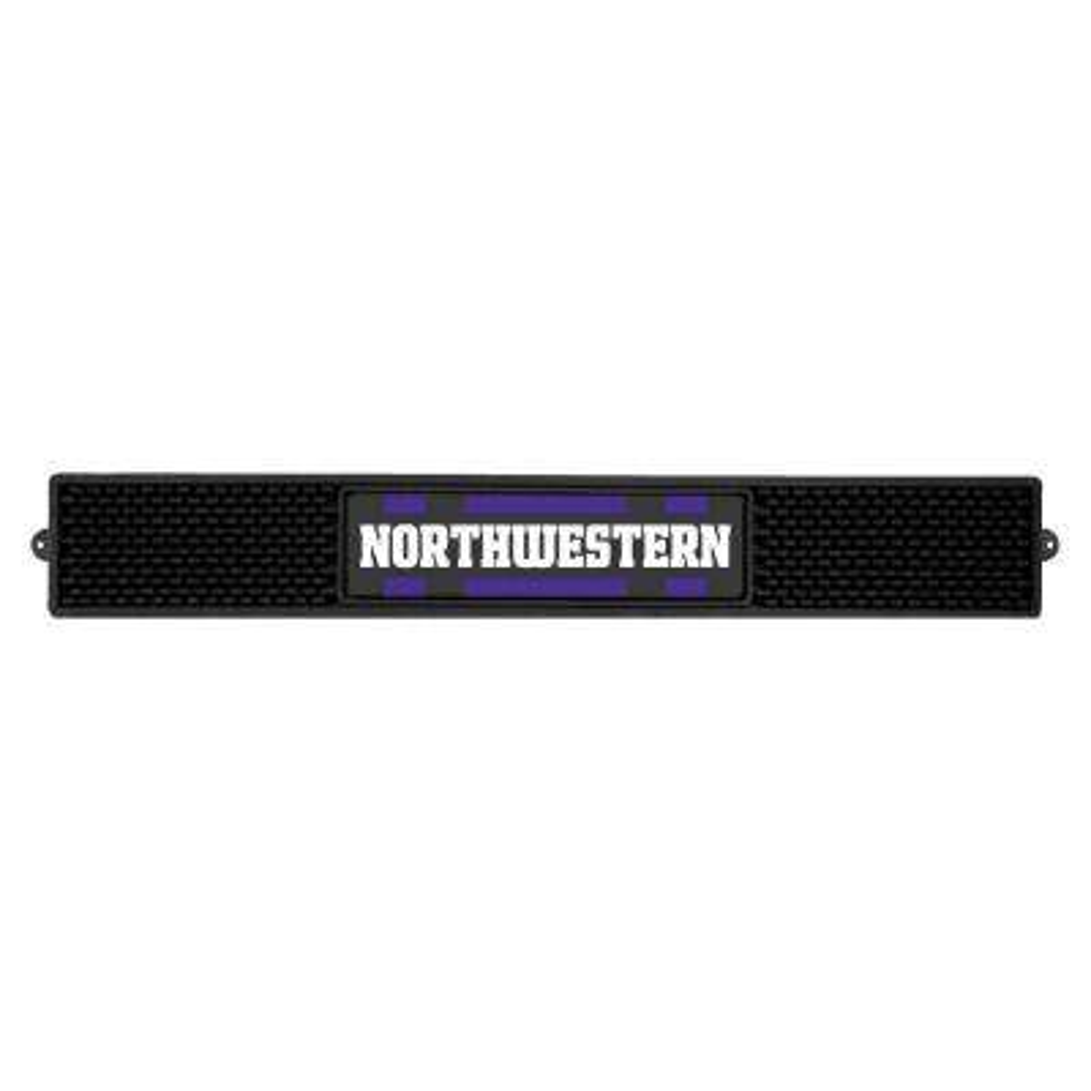 NCAA- 3.25 in. x 24 in. Black Northwestern University Drink Mat