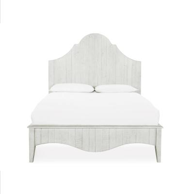 Ella White White with Scroll Headboard Wash King Panel Bed