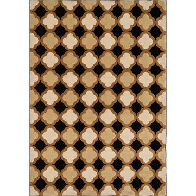 Shelton Lifestyle Collection Black/Camel 3 ft. 10 in. x 5 ft. 7 in. Area Rug
