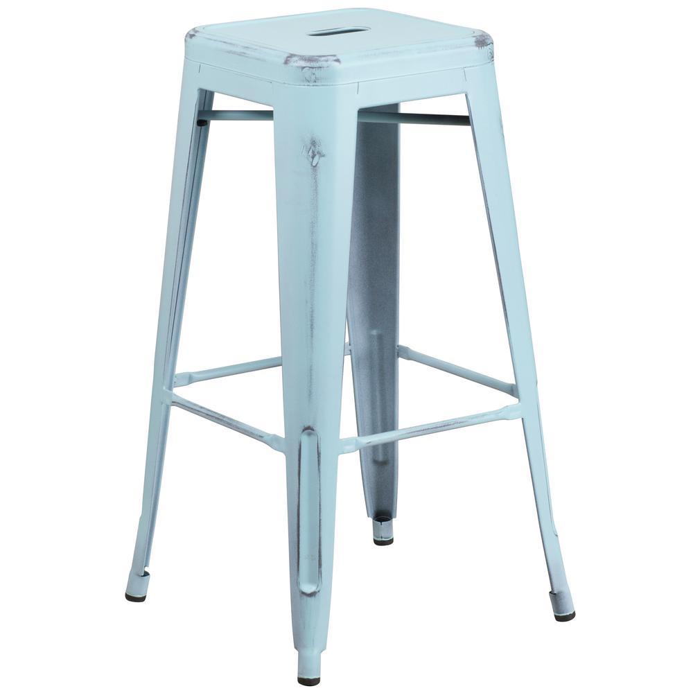 Flash Furniture 30 In. Distressed Blue Bar Stool