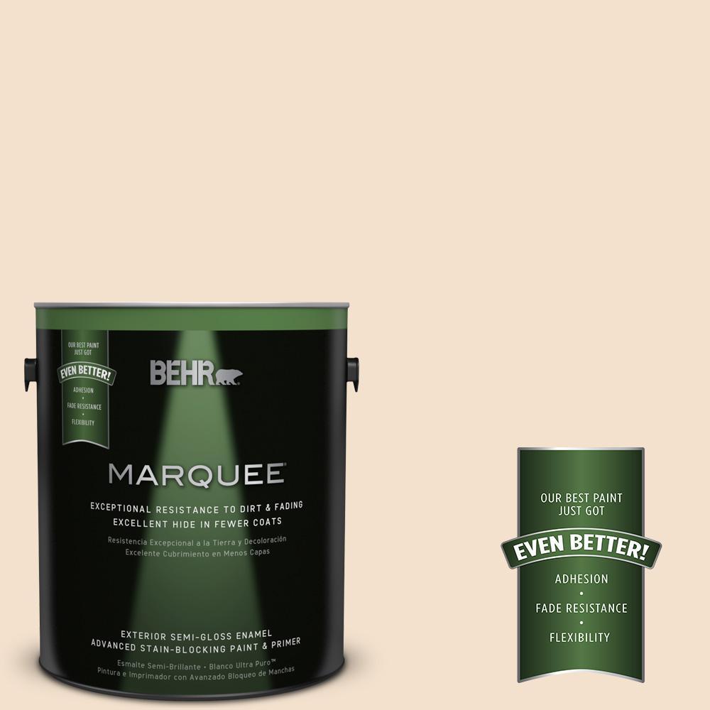 BEHR MARQUEE 1-gal. #BWC-08 Pebble Cream Semi-Gloss Enamel Exterior Paint