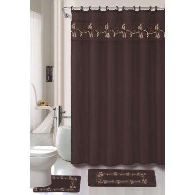 Beverly 70 in. Chocolate Embroidered Shower Curtain Set