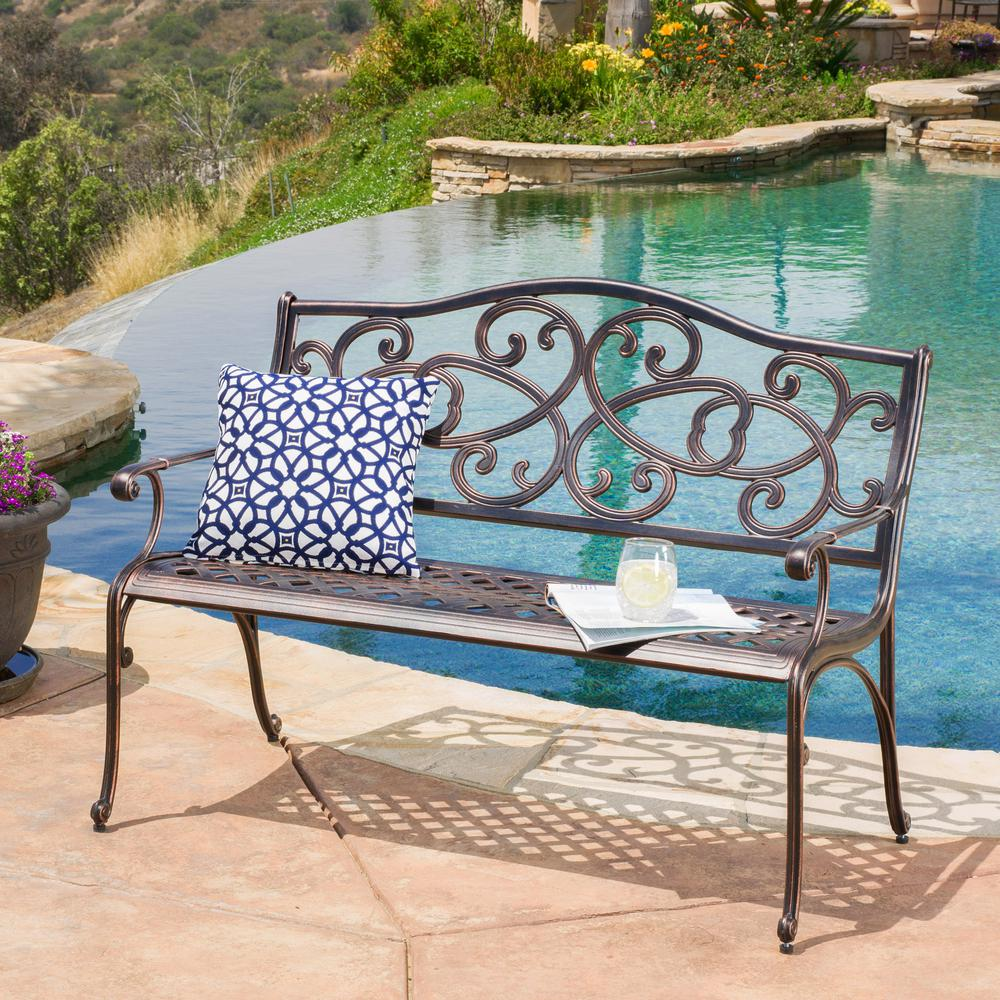 Swell Noble House 47 5 In Copper Metal Outdoor Bench Ibusinesslaw Wood Chair Design Ideas Ibusinesslaworg