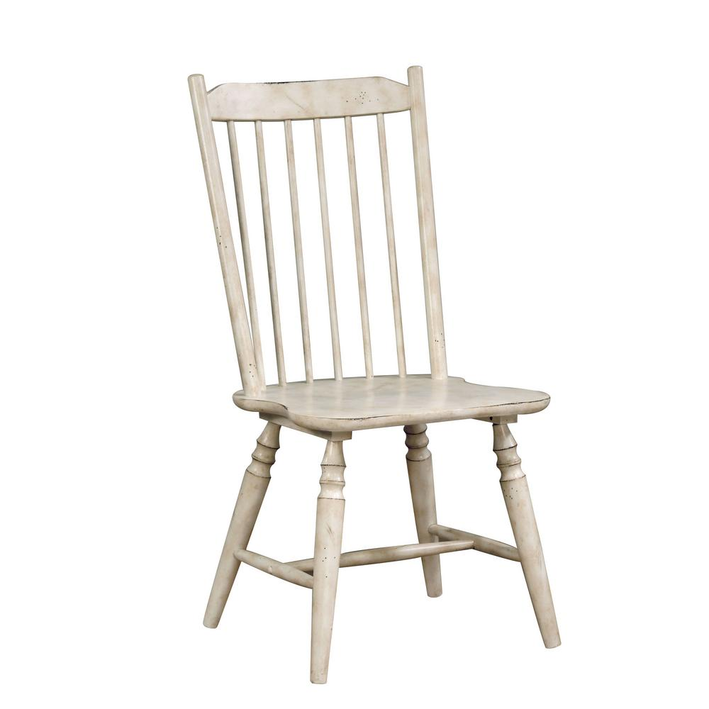 Dessie antique white wood slat side chair set of 2