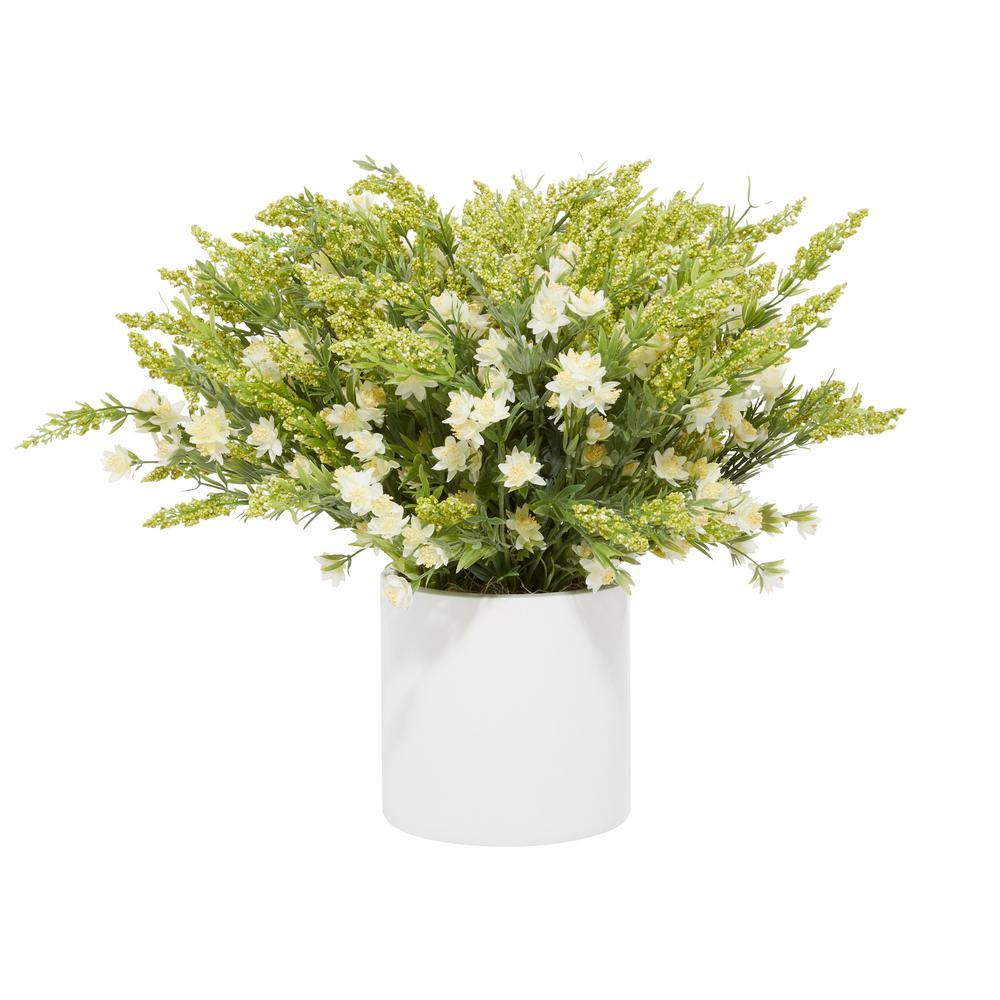 Litton Lane Indoor White Ceramic Natural Plant Artificial Foliage