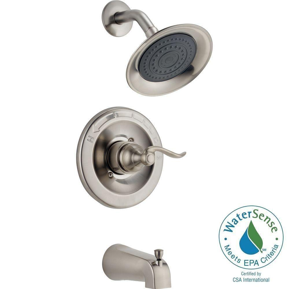 Delta Windemere 1-Handle Tub and Shower Faucet Trim Kit in Stainless ...