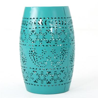 Ruby Teal Round Metal Outdoor Side Table
