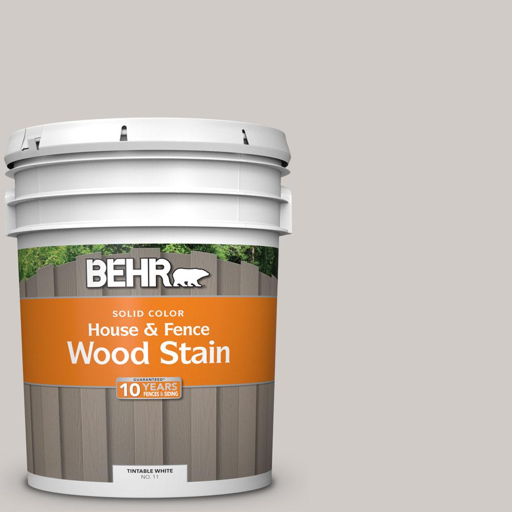 Exterior White Stain For Wood: BEHR 5 Gal. #HDC-NT-20 Cotton Grey Solid House And Fence