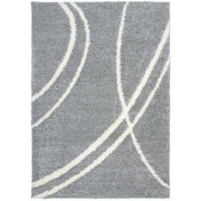 Soft Contemporary Stripe Cozy Shag Light Gray 5 ft. 3 in. x 7 ft. 3 in. Indoor Area Rug
