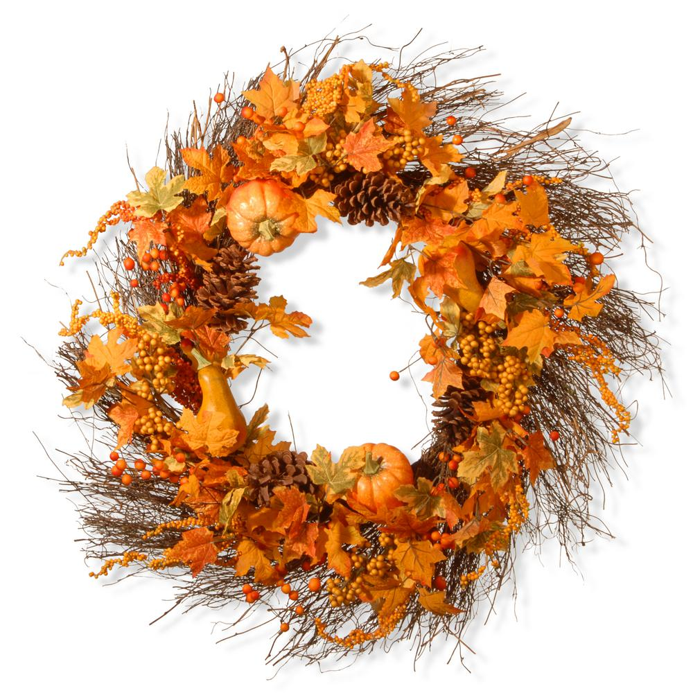 28 in. Pumpkin Wreath