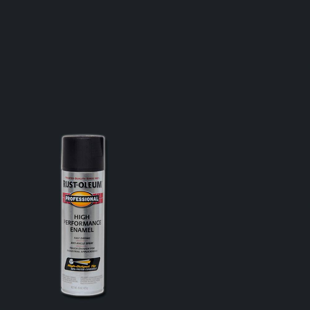 Rust Oleum Professional 15 Oz High Performance Enamel Flat Black Spray Paint 7578838 The Home Depot