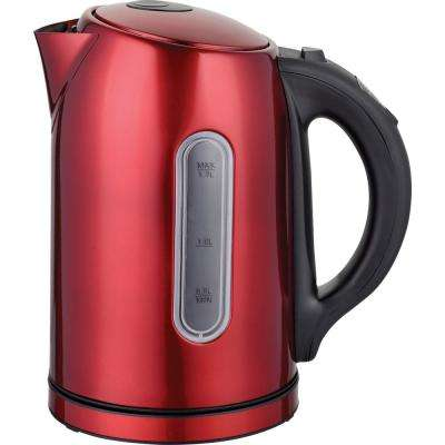 7.5-Cup Temperature control Cordless Red Stainless Electric Kettle
