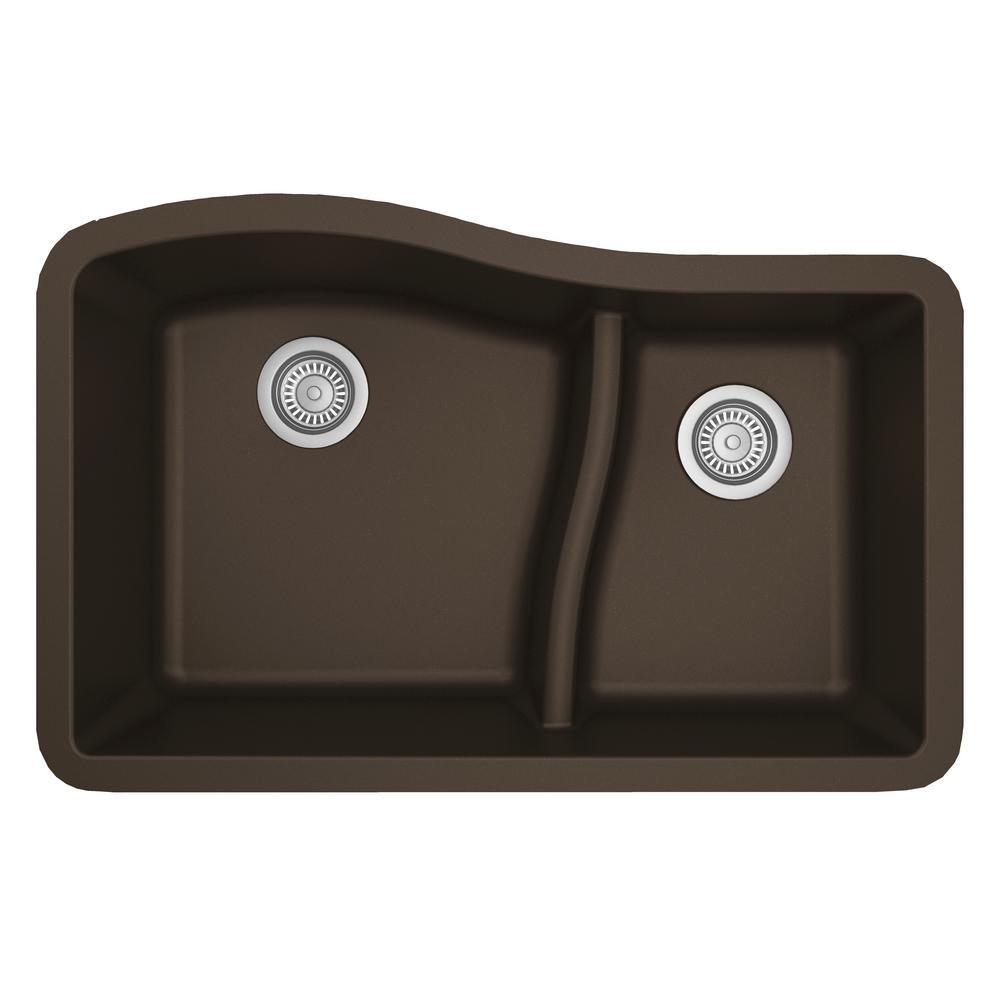 Karran Undermount Quartz Composite 32 in. 60/40 Double Bowl Kitchen Sink in Brown