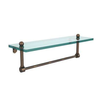 16 in. L  x 5 in. H  x 5 in. W Clear Glass Vanity Bathroom Shelf with Integrated Towel Bar in Venetian Bronze