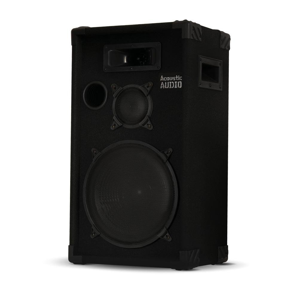 Passive 12 in. DJ Speaker 3-Way PA Karaoke Band Home Monitor, Black This Acoustic Audio passive speaker is designed for use in both professional audio and home audio entertainment applications. It is the perfect complement to any PA system, studio monitor, home theater system or other audio application requiring powerful and professional grade sound quality. This speaker is perfect PA, musicians, DJ's, rental companies and many fixed installations including houses of worship, theaters, music halls, meeting rooms, amusement parks, hotels, stadiums, nightclubs and auditoriums. Color: Black.