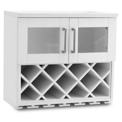 Home Bar White Wall Wine Rack Cabinet