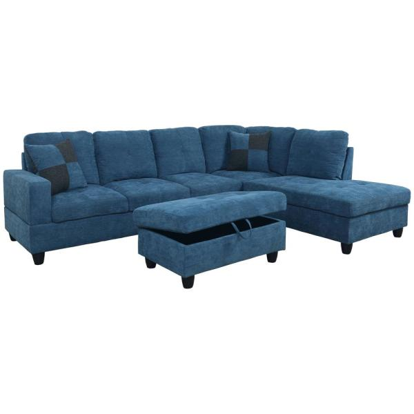 Blue linen Left Chaise Sectional with Storage Ottoman F123A ...