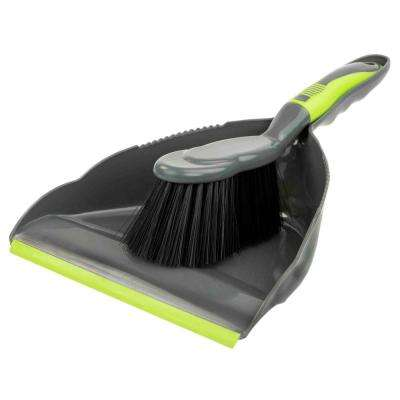 Brilliant Collection 8.5 in. Grey/Lime Dust Pan and Brush Set