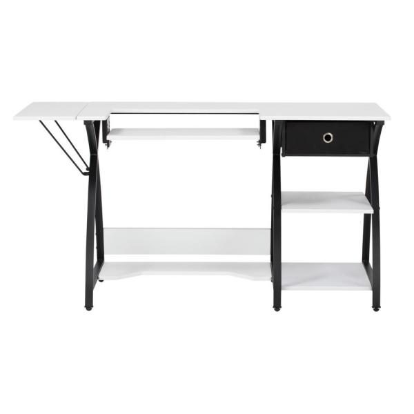Comet Collection 56.75 in. W x 23.5 in. D PB Craft Sewing Table with Storage Drawer in White with Black Frame