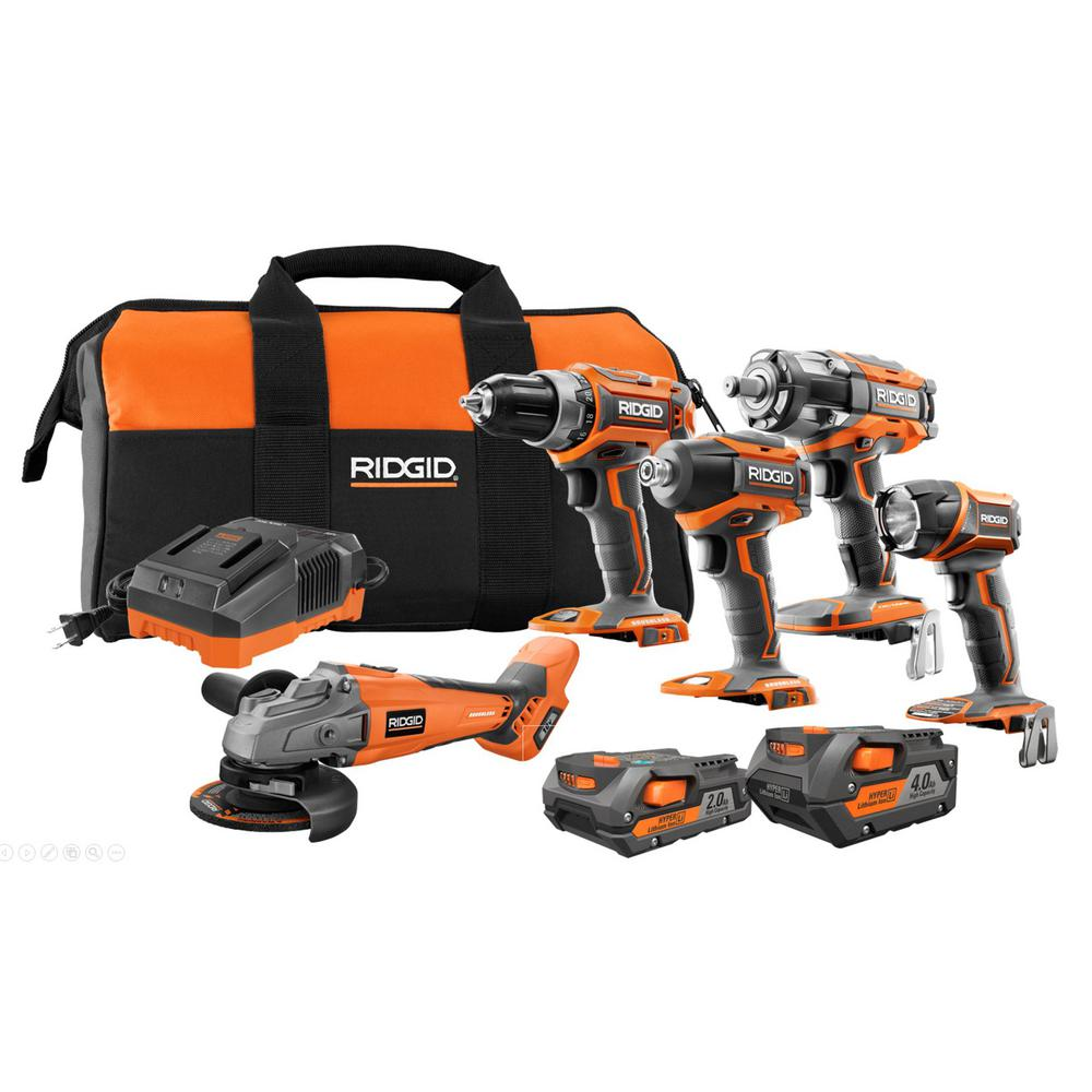 RIDGID 18-Volt Lithium-Ion Brushless Cordless 5-Tool Combo Kit with (1) 4.0 Ah Battery, (1) 2.0 Ah Battery, Charger, and Bag