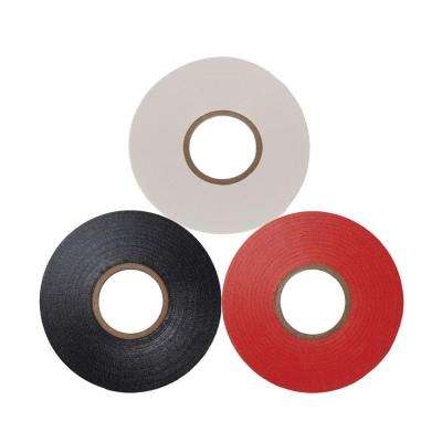 Scotch 3/4 in. x 66 ft. Vinyl Electrical Tape, Black/Red and White (3-Pack)