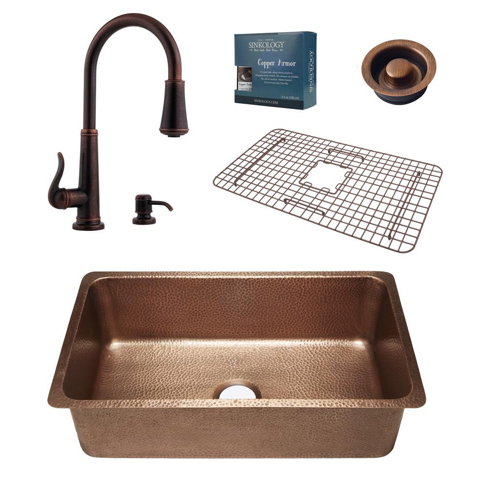 SINKOLOGY David All-in-One Undermount Copper 31-1/4 in. Single Bowl Kitchen Sink with Pfister Ashfield Bronze Faucet and Drain