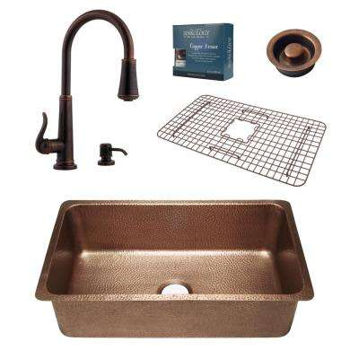 Pfister All-in-One David 31-1/4 in. Undermount Copper Sink Combo with Ashfield Rustic Bronze Faucet and Disposal Drain