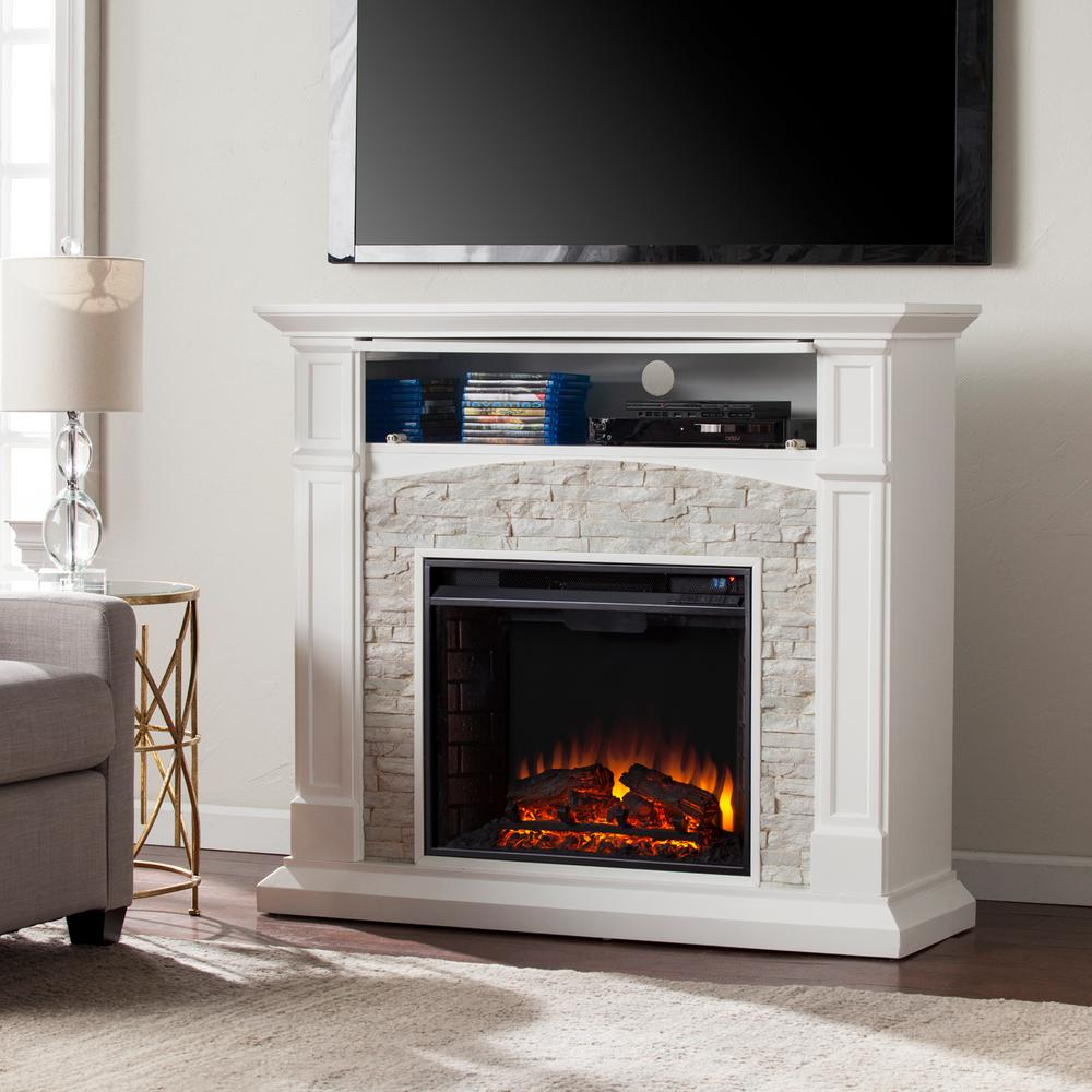 white fireplace tv stand Southern Enterprises Conway 45.75 in. Electric Fireplace TV Stand  white fireplace tv stand