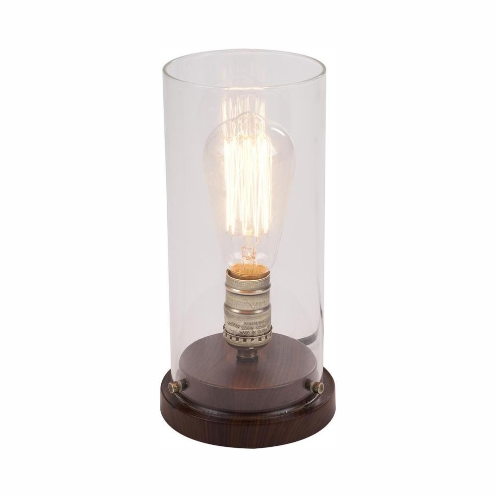 Hampton Bay 10 in. LED Faux Wood Vintage Uplight Lamp